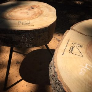 Wood sliver table.