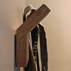 Suspended wooden wall hook